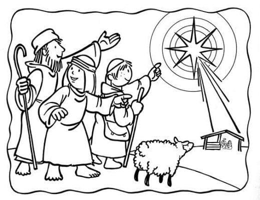 раскраска на тему рождественская звезда для детей