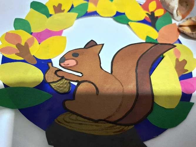 поделка с белкой из картона в школу на конкурс на тему - золотая осень